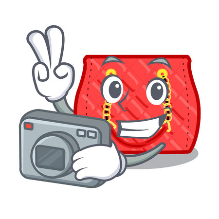 Photographer quilted purse by shape character funny