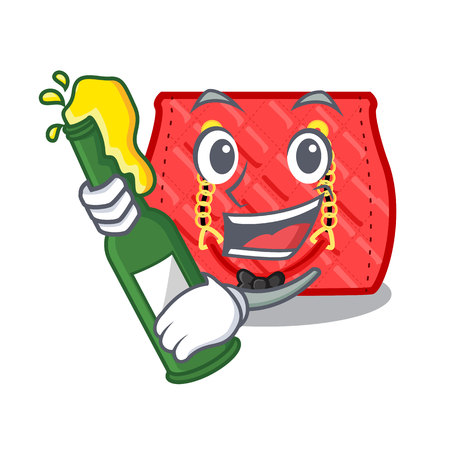 With beer fashion bag shoulder on women cartoon vector illustration