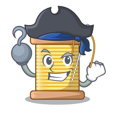 Pirate bobbin with needle thread spool cartoon vector illustration