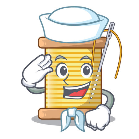 Sailor bobbin with needle thread spool cartoon vector illustration