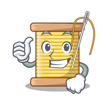 Thumbs up bobbins with thread on spool character vector illustration
