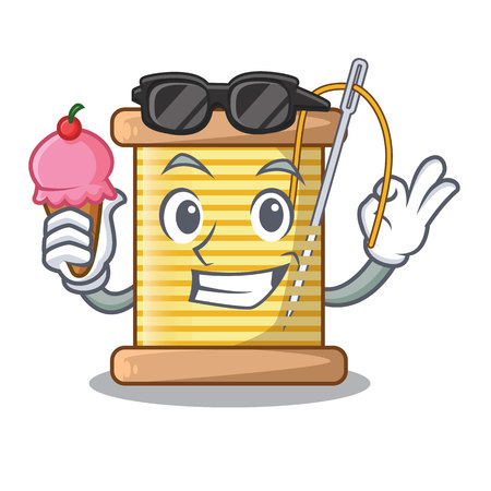 With ice cream bobbins with thread on spool character vector illustration Ilustração