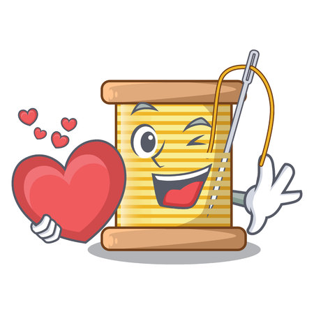 With heart thread bobbin isolated on a mascot vector illustration