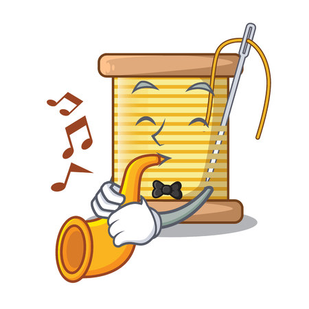 With trumpet thread bobbin isolated on a mascot vector illustration