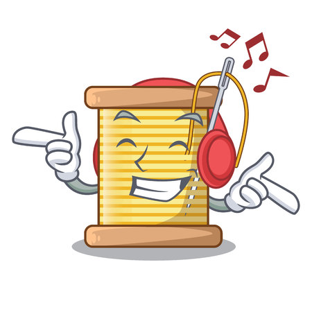Listening music thread bobbin isolated on a mascot vector illustration