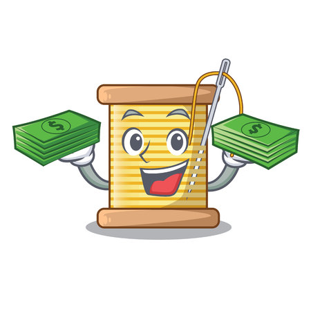 With money thread bobbin isolated on a mascot vector illustration Illusztráció