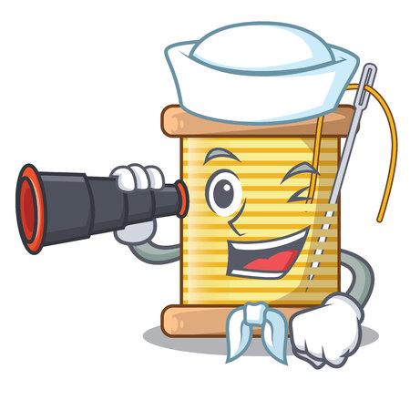 Sailor with binocular thread bobbin isolated on a mascot vector illustration