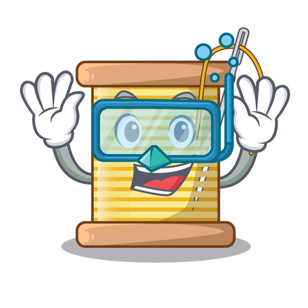 Diving bobbins with thread on spool character vector illustration