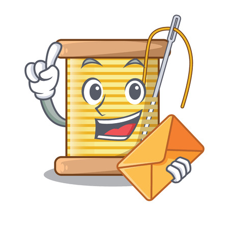 With envelope bobbins with thread on spool character vector illustration