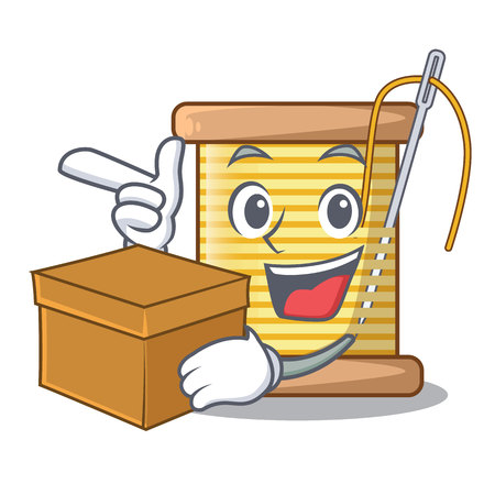 With box bobbins with thread on spool character vector illustration