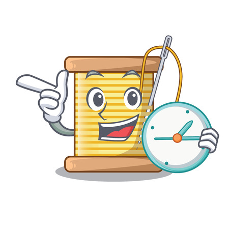 With clock bobbins with thread on spool character vector illustration