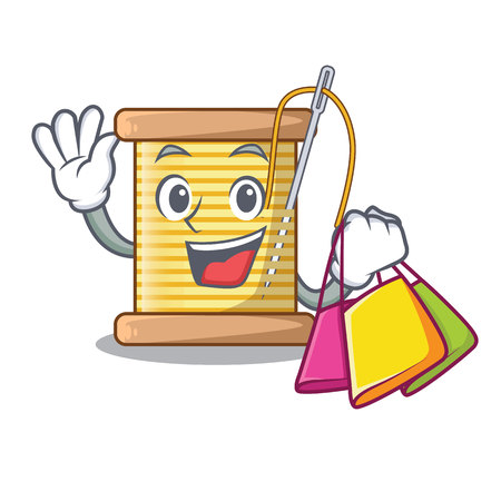 Shopping bobbins with thread on spool character vector illustration