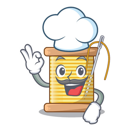 Chef bobbins with thread on spool character vector illustration
