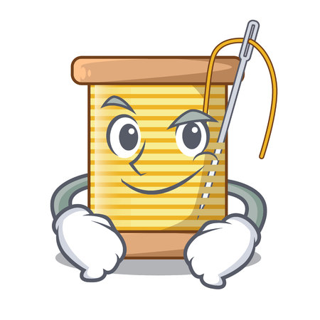 Smirking bobbins with thread on spool character vector illustration