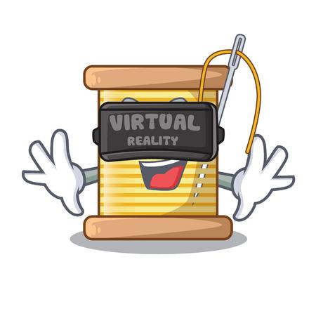 Virtual reality thread bobbin isolated on a mascot vector illustration Ilustrace