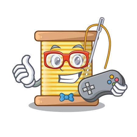 Gamer-Fadenspule isoliert auf einer Maskottchen-Vektor-Illustration