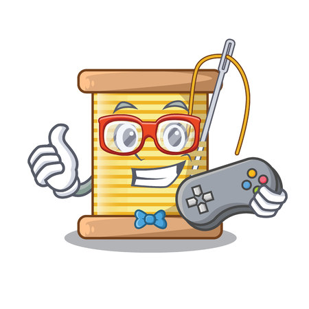 Gamer thread bobbin isolated on a mascot vector illustration