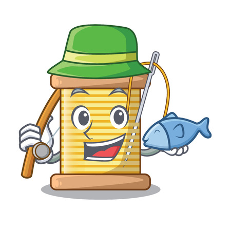 Fishing thread bobbin isolated on a mascot vector illustration Ilustrace