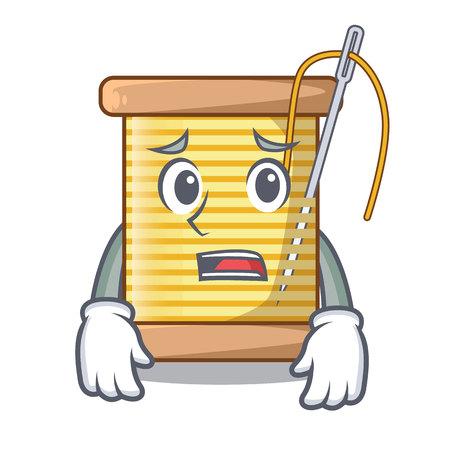 Afraid thread bobbin isolated on a mascot vector illustration