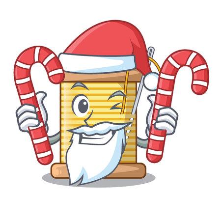 Santa with candy thread spool in a shape cartoon vector illustration