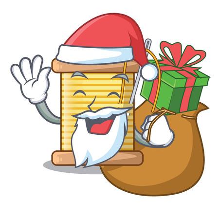 Santa with gift thread spool in a shape cartoon vector illustration