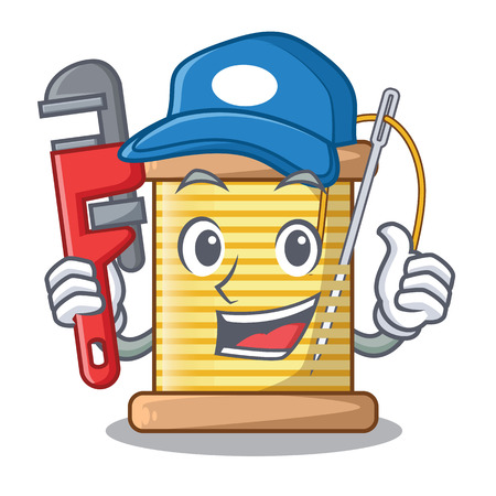 Plumber thread spool in a shape cartoon vector illustration