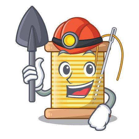 Miner thread bobbin isolated on a mascot vector illustration
