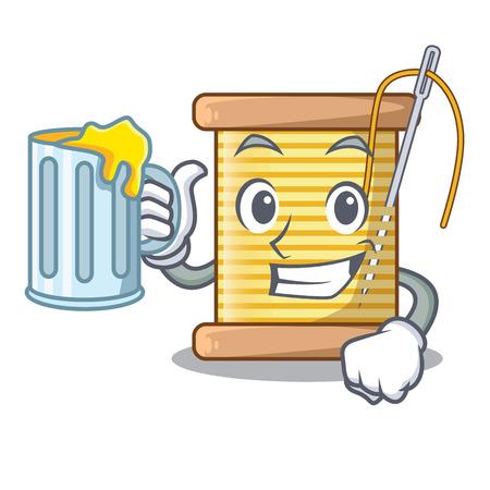 With juice thread bobbin isolated on a mascot vector illustration Illusztráció