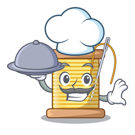 Chef with food thread bobbin isolated on a mascot vector illustration Illusztráció