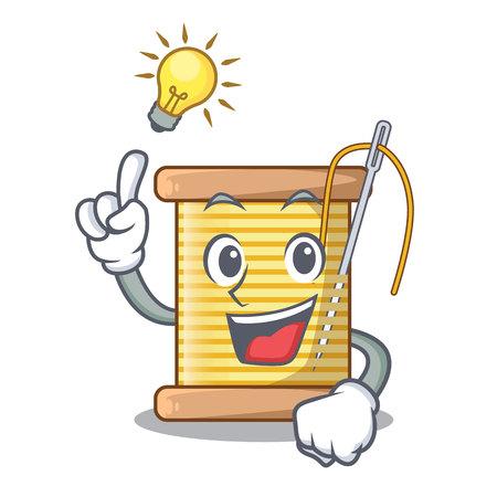 Have an idea thread spool in a shape cartoon vector illustration