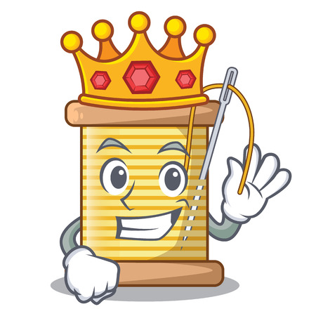 King thread spool in a shape cartoon vector illustration