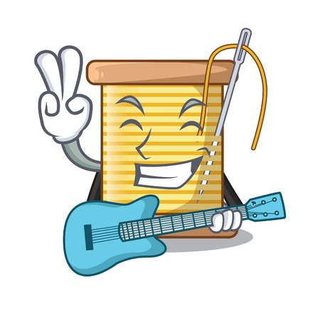 With guitar thread bobbin isolated on a mascot vector illustration