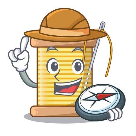 Explorer thread bobbin isolated on a mascot vector illustration Ilustrace