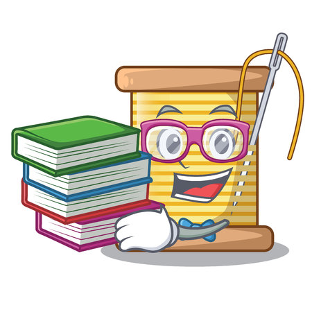 Student with book thread spool in a shape cartoon vector illustration