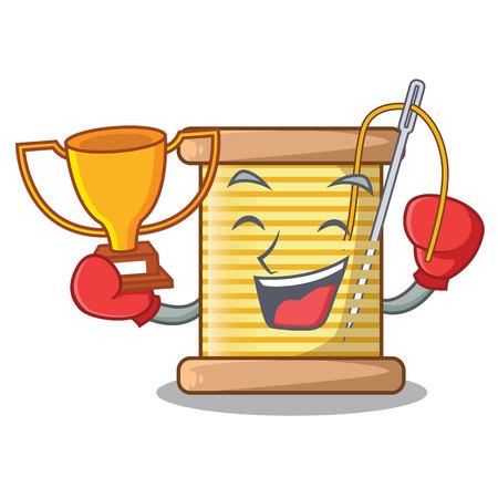 Boxing winner thread spool in a shape cartoon vector illustration