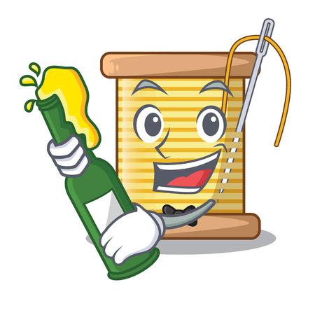 With beer thread spool in a shape cartoon vector illustration