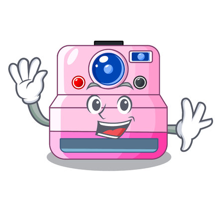 Waving instant camera with revoke cartoon picture vector illustration