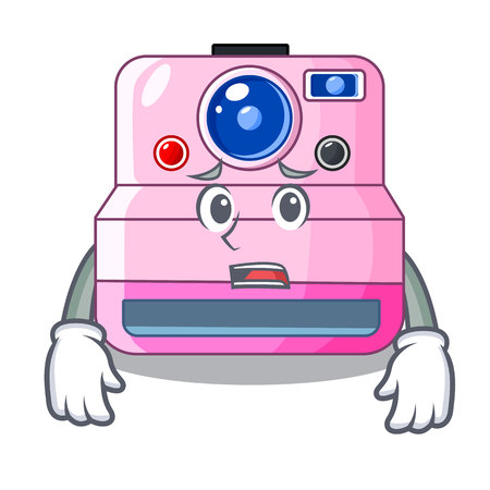 Afraid instant camera in a shape character