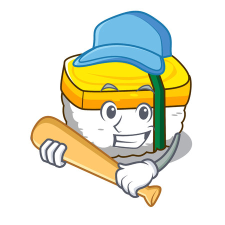 Playing baseball tamago sushi Isolated on a mascot vector illustration Vettoriali