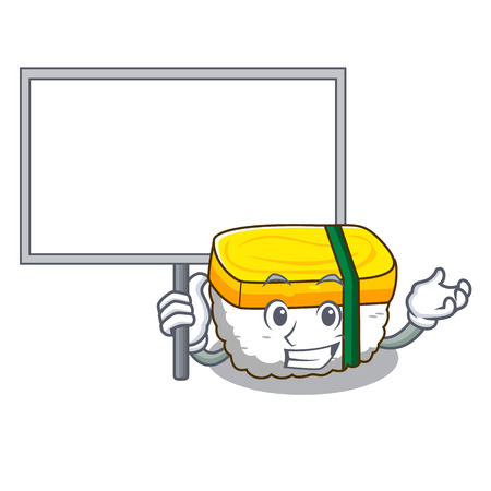 Bring board tamago sushi Isolated on a mascot vector illustration