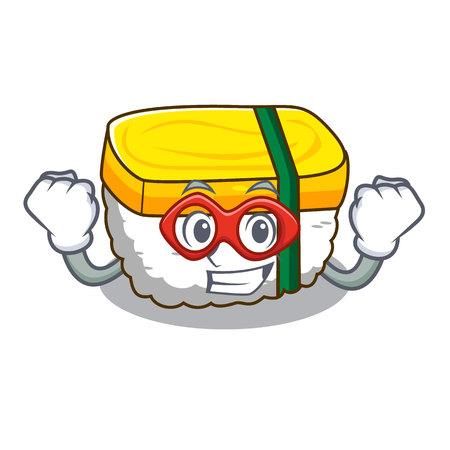 Super hero tamago Sushi a japanese cartoon food