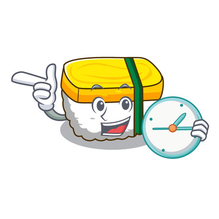 With clock tamago Sushi a japanese cartoon food vector illustration