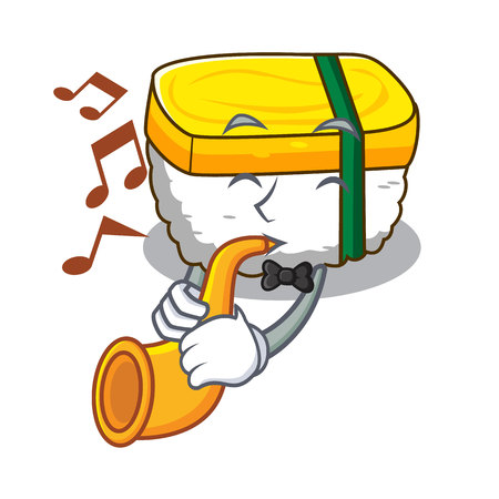 With trumpet tamago sushi in a shape cartoon