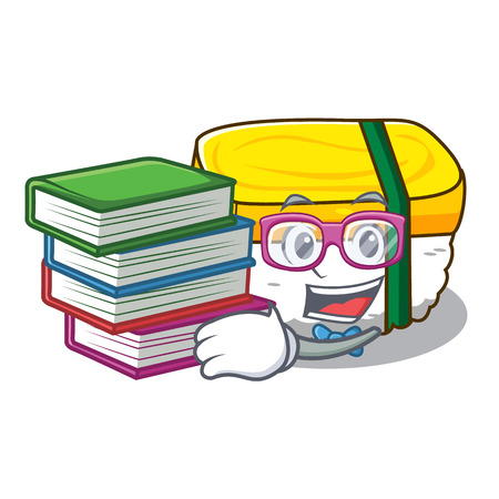 Student with book tamago sushi using an egg character