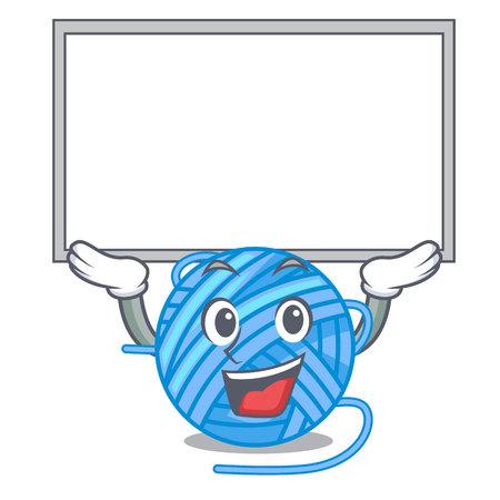 Up board wool ball in a shape cartoon vector illustration