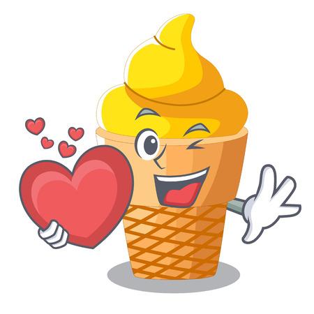 With heart banana ice cream in shape cartoon vector illustration
