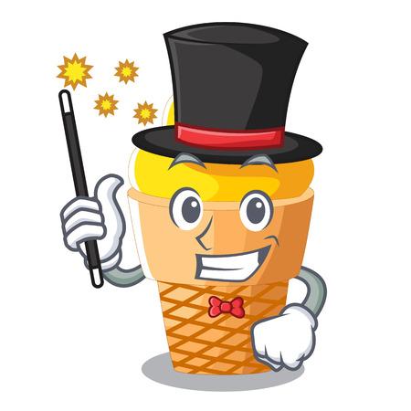 Magician banana ice cream in cone character vector illustration