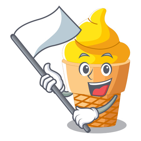 With flag banana ice cream in cone character vector illustration