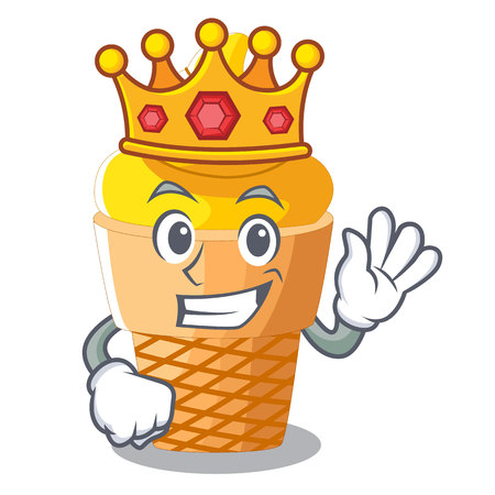 King banana ice cream in cone character vector illustration