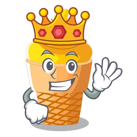 King banana ice cream in cone character vector illustration